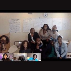 Zoom meeting, members smiling.